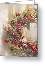 Country Wreath With Red Berries Greeting Card