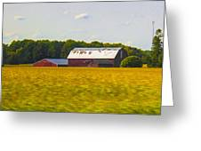 Countryside Landscape With Red Barns Greeting Card
