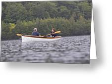 Couple Boating On Lake, Maine, Usa Greeting Card