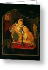 Couple Counting Money By Candlelight, 1779 Panel Greeting Card