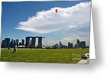 Couple Flies Kite Marina Bay Sands Singapore Greeting Card