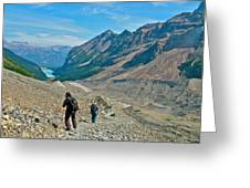 Couple Hiking On Plain Of Six Glaciers Trail  In Banff Np-albert Greeting Card