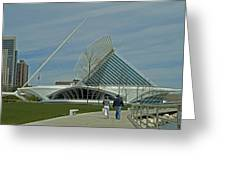 Couple In Front Of Milwaukee Art Museum Greeting Card
