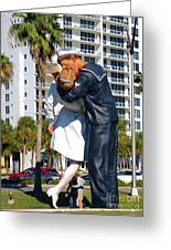 Couple Looking Up To The Famous Wwll Kiss Statue In Sarasota. Greeting Card