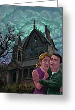 Couple Outside Haunted House Greeting Card