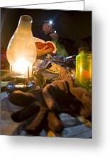 Couple Reading By Lantern, India Greeting Card