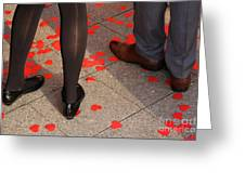 Couple Standing On Rose Petals Greeting Card
