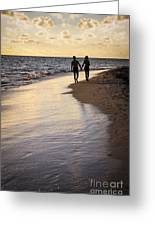 Couple Walking On A Beach Greeting Card