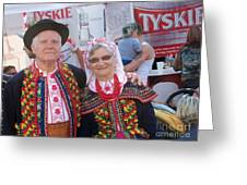 Couples In Polish National Costumes Greeting Card