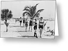 Couples Strolling Along The Pathway On The Beach. Greeting Card