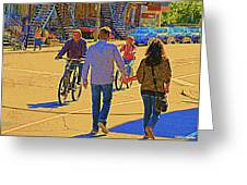 Couples Summer In The City Walking Biking Strolling With Baby Carriage Art Of Montreal Street Scene Greeting Card