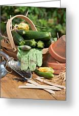 Courgette Basket With Garden Tools Greeting Card