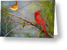 Courting Cardinals, Birds Greeting Card