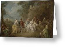 Courtly Scene In A Park, C.1730-35 Greeting Card