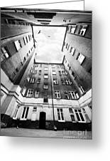 Courtyard In Black And White Greeting Card