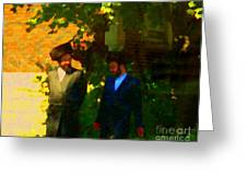Covenant Conversation Two Men Of God Hasidic Community Montreal City Scene Rabbinical Art Carole Spa Greeting Card