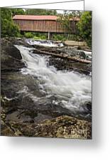 Covered Bridge And Waterfall Greeting Card by Edward Fielding