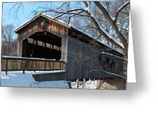 Covered Bridge At Christmas Greeting Card