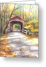 Covered Bridge Autumn Shadows Watercolor Painting Greeting Card