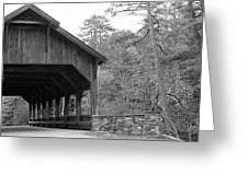 Covered Bridge Black And White Greeting Card