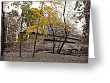 Covered Bridge In Autumn Greeting Card