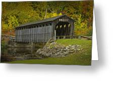 Covered Bridge In Fall Greeting Card