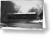 Covered Bridge In Winter Greeting Card