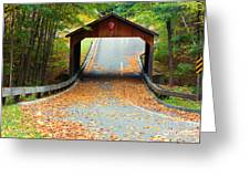 Covered Bridge On Pierce Stocking Scenic Drive Within Sleeping B Greeting Card