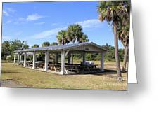 Covered Picnic Tables Greeting Card