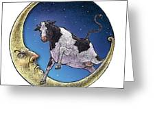 Cow And Moon Greeting Card