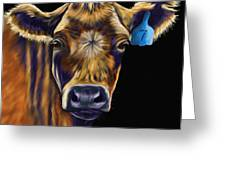 Cow Art - Lucky Number Seven Greeting Card