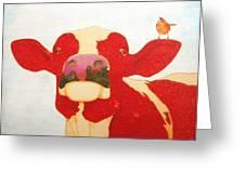 Cow Bird Greeting Card