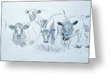 Cow Drawing Greeting Card