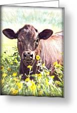 Cow In Wildflowers Greeting Card by Ella Kaye Dickey