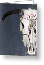 Cow Skull In Blue Greeting Card