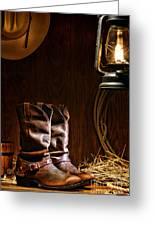 Cowboy Boots At The Ranch Greeting Card