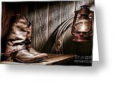 Cowboy Boots In Old Barn Greeting Card