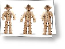 Cowboy Box Characters On White Greeting Card
