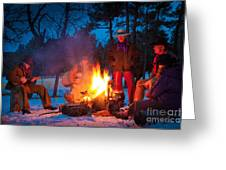 Cowboy Campfire Greeting Card by Inge Johnsson