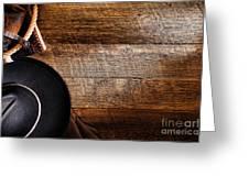 Cowboy Gear On Wood Greeting Card