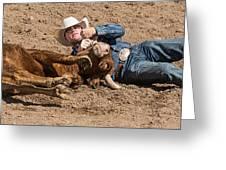 Cowboy Has Steer By Horn Greeting Card
