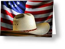 Cowboy Hat And American Flag Greeting Card