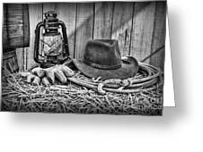 Cowboy Hat And Rodeo Lasso In A Black And White Greeting Card by Paul Ward