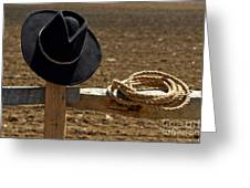 Cowboy Hat And Rope On Fence Greeting Card by Olivier Le Queinec