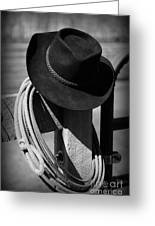 Cowboy Hat On Fence Post In Black And White Greeting Card