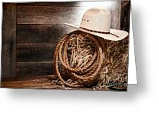 Cowboy Hat On Hay Bale Greeting Card by Olivier Le Queinec