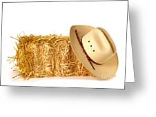 Cowboy Hat On Straw Bale Greeting Card by Olivier Le Queinec