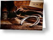 Cowboy Horseshoe Greeting Card by Olivier Le Queinec