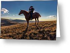 Cowboy Looks Out Over Historic Last Greeting Card