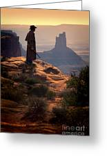 Cowboy On A Cliff Greeting Card